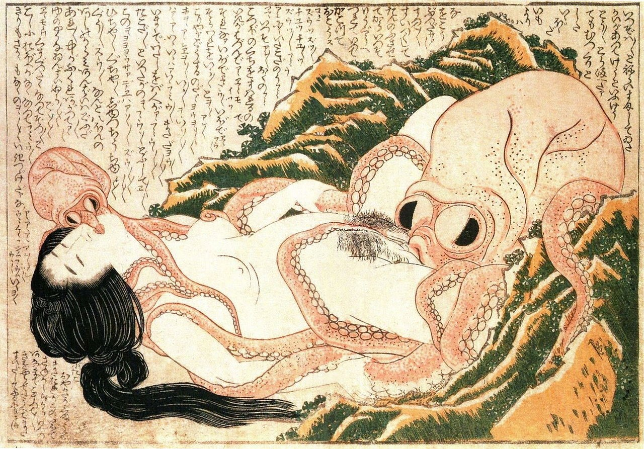 The dream of fisherman's wife - Katsushika Hokusai (1814)